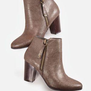 JustFab Mazie bronze shimmer block heel bootie